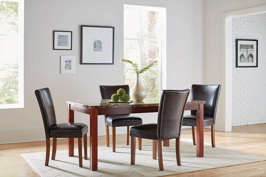 120310 5 pc Charlton home millwood telegraph warm brown finish wood faux marble top dining table set