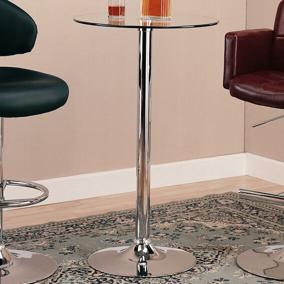 120341 Chrome base and leg bar table with clear glass circular top