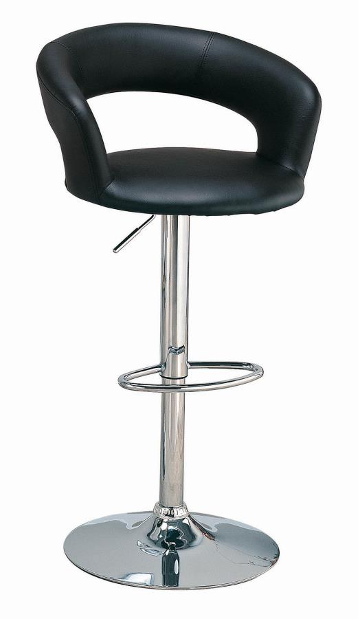 120346 Black leather like vinyl upholstered bar stool with chrome finish base , post and footrest