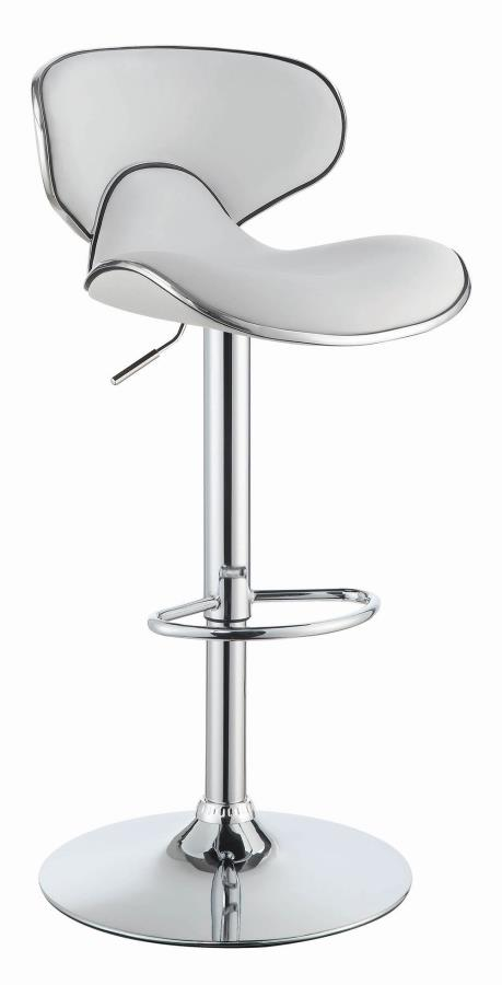120389 Set of 2 white faux leather adjustable height bar stool chrome base