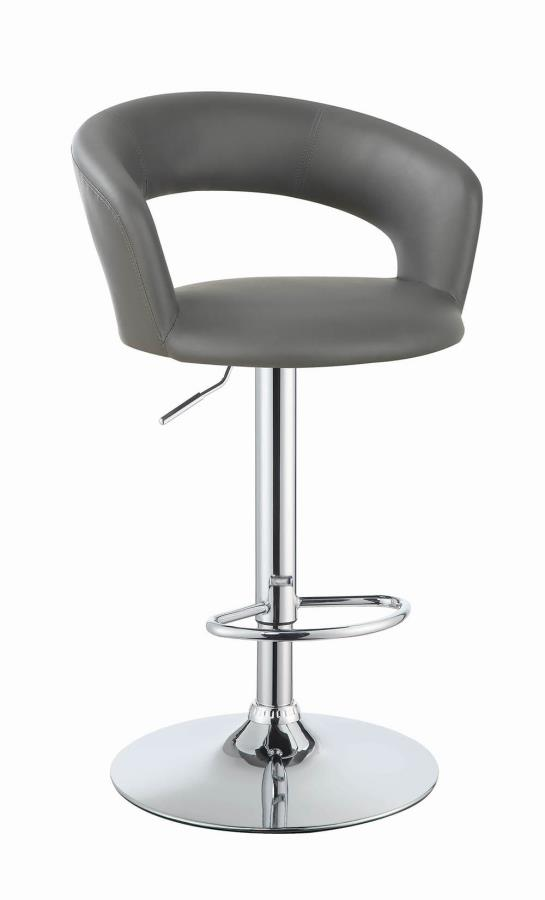 120397 Gray leather like vinyl upholstered bar stool with chrome finish base