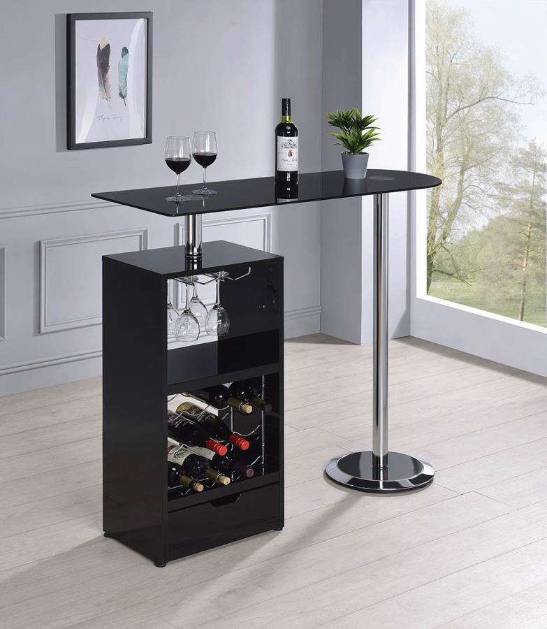 120451 Orren ellis home bar unit modern style black finish bar unit black glass top