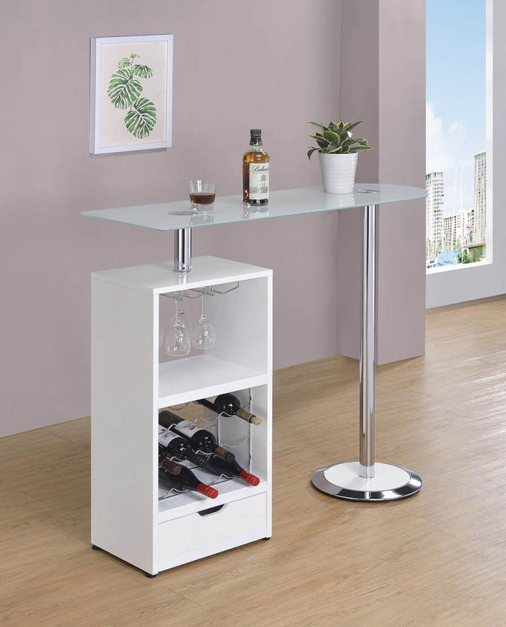 120452 Orren ellis home bar unit modern style white finish bar unit frosted glass top