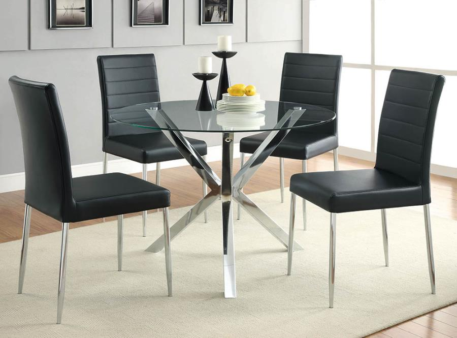 "120760 5 pc Orren ellis vance chrome metal finish 42"" round glass top dining table set"