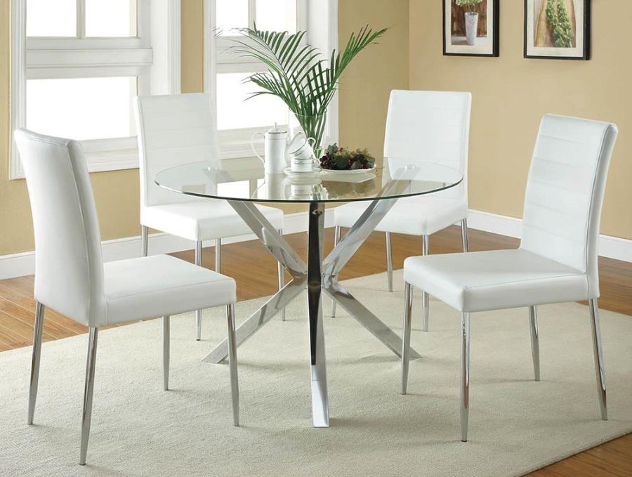 "120760A 5 pc Orren ellis vance chrome metal finish 42"" round glass top dining table set"