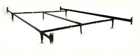 Cal king size non adjustable style bed frame with glides with headboard / footboard attachment