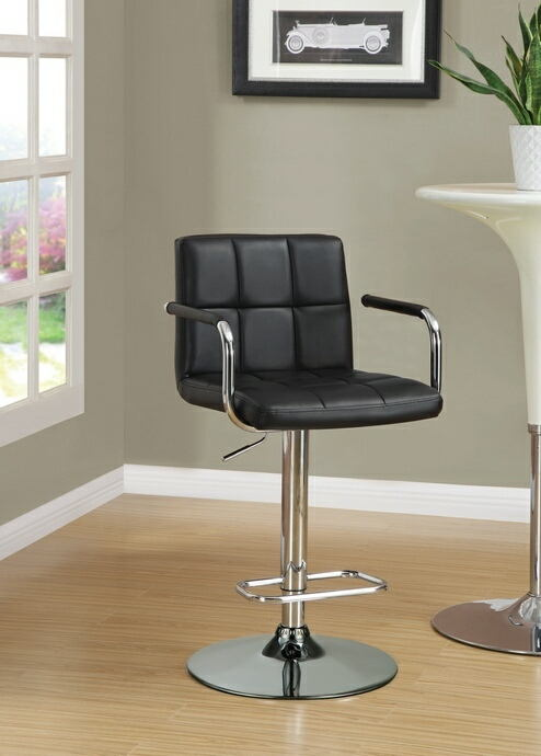 Retro style chrome finish metal and black tufted vinyl upholstered adjustable barstool with foot rest