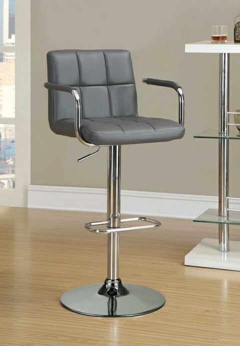 121096 Retro style chrome finish metal and grey tufted vinyl upholstered adjustable barstool with foot rest