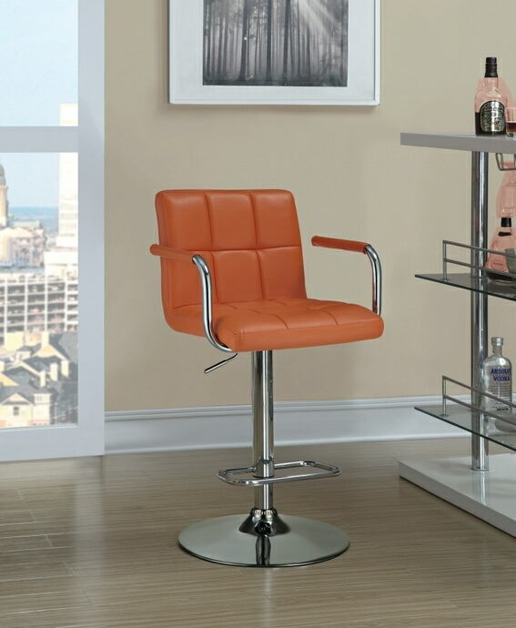 121098 Retro style chrome finish metal and pumpkin tufted vinyl upholstered adjustable barstool with foot rest