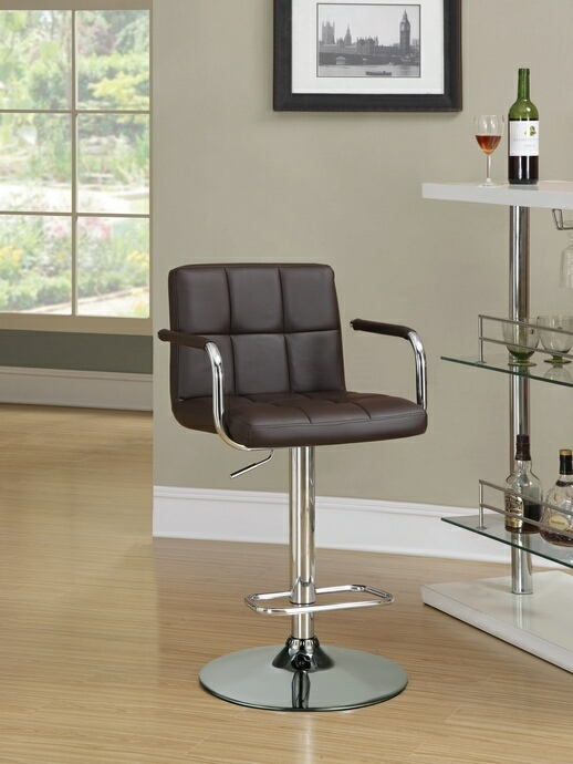 Retro style chrome finish metal and brown tufted vinyl upholstered adjustable barstool with foot rest