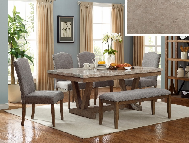 1211T-4272 6 pc Vespa brown finish wood marble top dining table set with bench