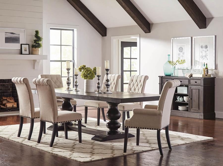 121231B 7 pc Phelps antique noir finish wood double pedestal dining table set beige chairs