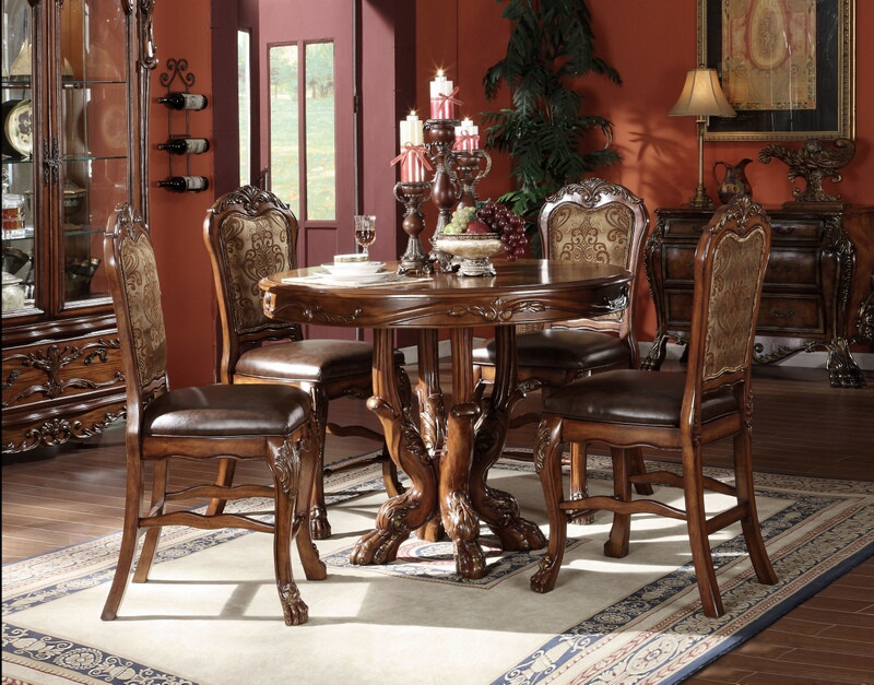 5 pc dresden cherry oak finish wood round counter height pedestal dining table set with detailed carving
