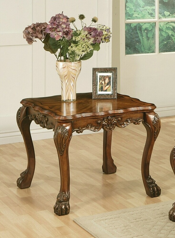 Acme 12166 A&J Homes studio dresden cherry oak finish wood carved accents chair side end table