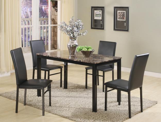 1217SET 5 pc wila arlo interiors orlo dark faux marble finish wood dining table set