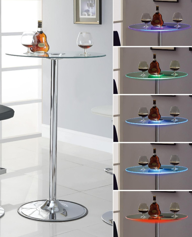 122400 Wade logan athol glass top color changing led bar table with chrome base