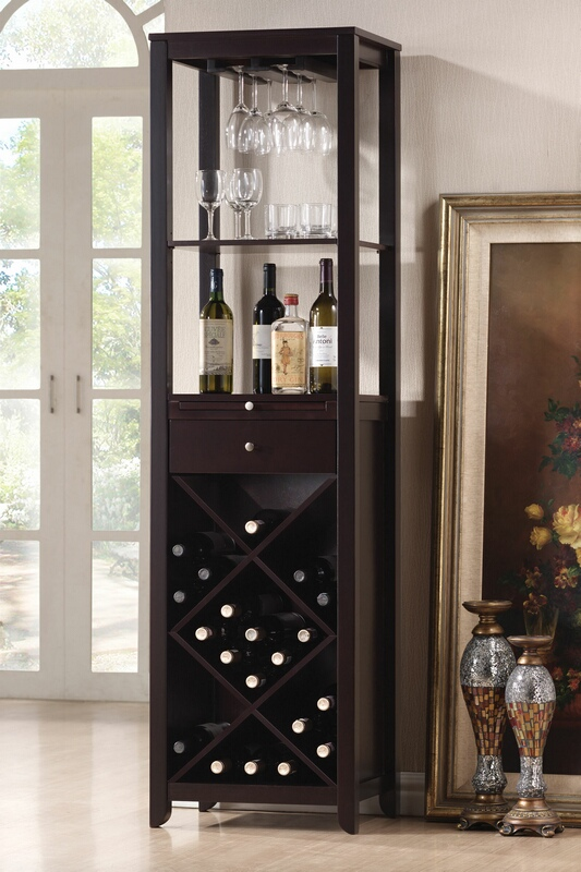 Espresso finish wood bar cabinet with wine glass and bottle storage
