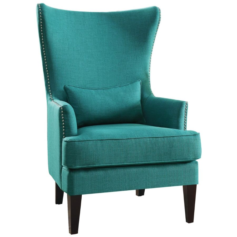 Homelegance 1296F2S Avina high wing back style teal fabric accent chair nail head trim