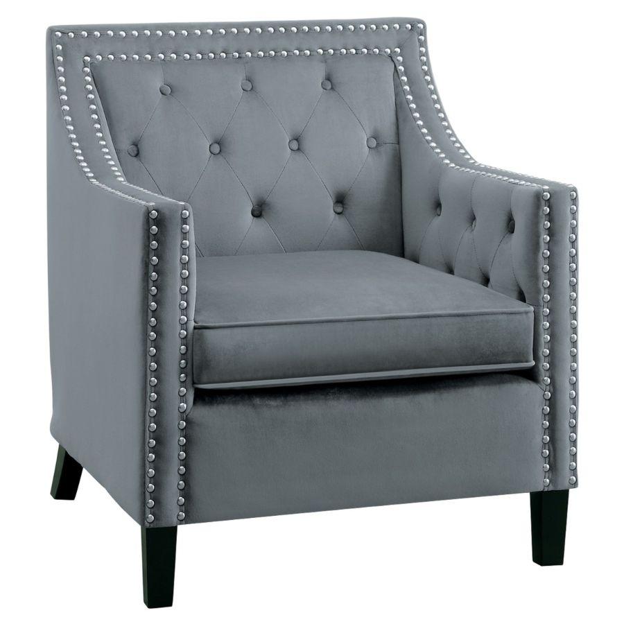 Homelegance 1297GY-1NN Grazioso tufted back gray velvet fabric accent chair nail head trim