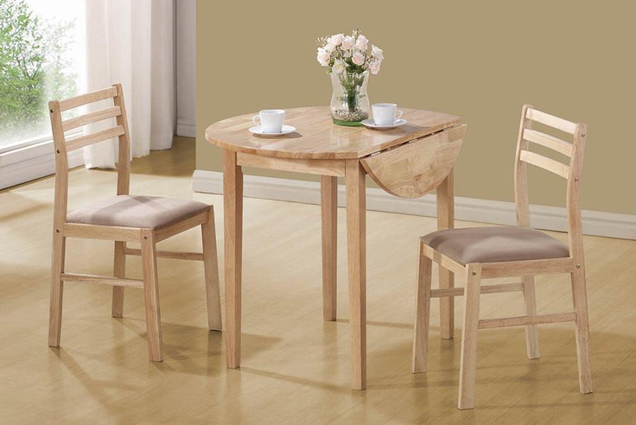 130006 3 pc Wildon home nathan natural finish wood drop leaf breakfast table set