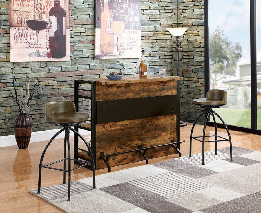 130071 Williston forge ignacio home bar unit antique nutmeg finish wood bar unit