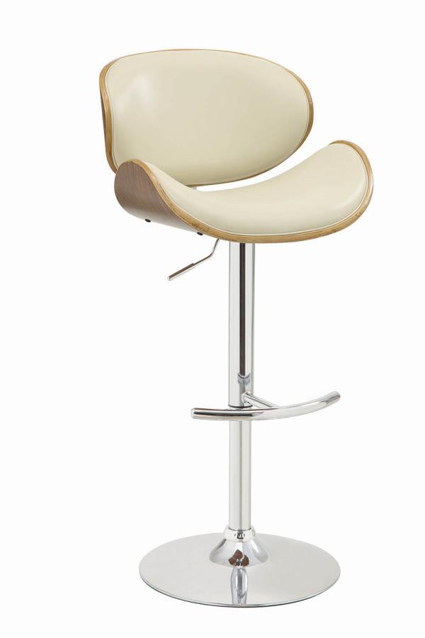 130505 Walnut finish wood ecru faux leather adjustable height bar stool chrome base