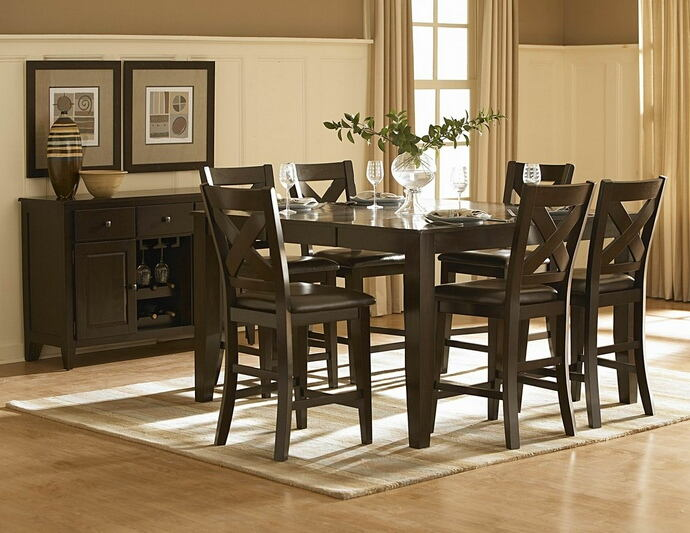 7 pc crown point collection dark cherry finish wood counter height dining table set with upholstered seats