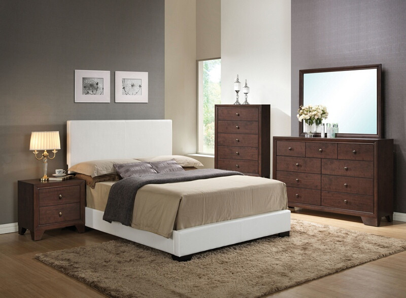 Acme 14390Q-4PC 4 PC Ireland espresso finish wood white faux leather padded queen size bed set