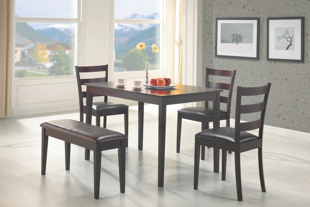4 pc tavaral collection espresso finish wood dining table set with vinyl padded seats with bench