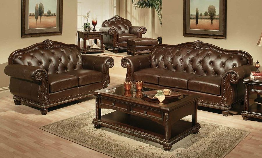 2 pc anondale collection cherry finish top grain leather upholstered sofa and love seat with wood trim accents