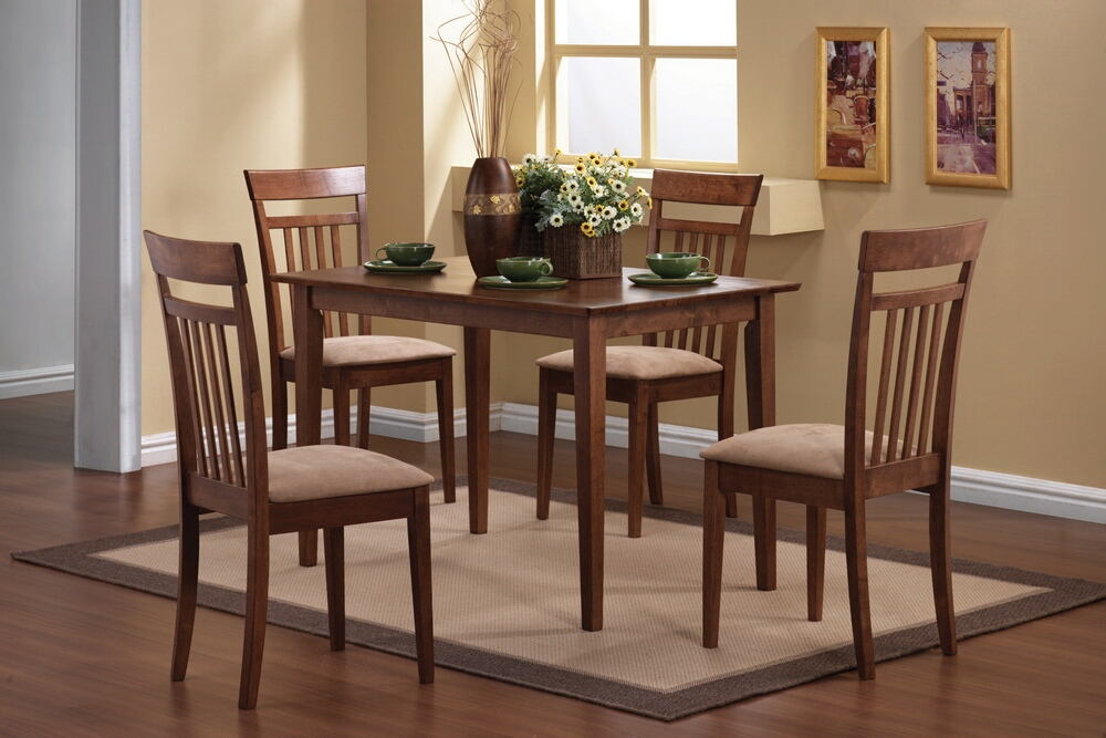 5 pc miranda collection warm walnut finish wood dining table set with fabric padded seats