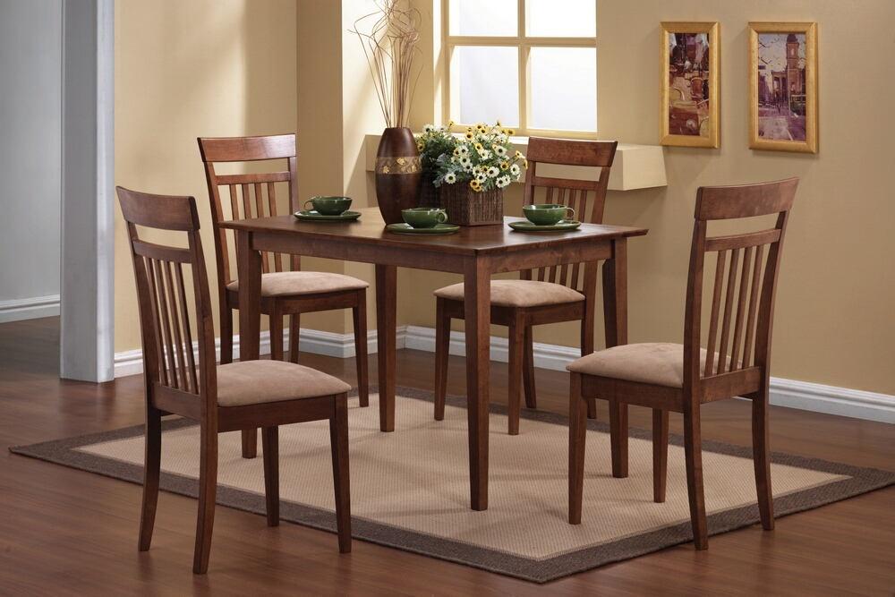 5 pc miranda collection warm walnut finish wood dining table set with fabric padded seats