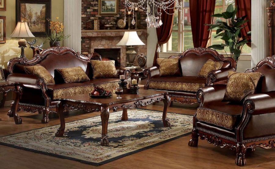 2 pc dresden collection two tone chenille fabric and leather like vinyl upholstered sofa and love seat with wood trim accents