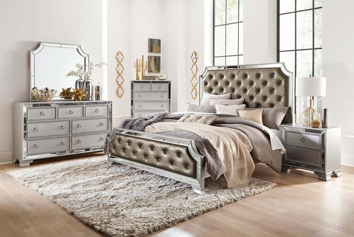 Homelegance 1646-4PC 4 pc Avondale silver finish wood faux leather crystal button tufted queen bedroom set