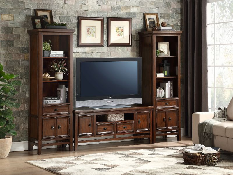 """16490-S 3 pc Frazier park cherry finish wood tv entertainment center tv 59"""" stand with side piers"""
