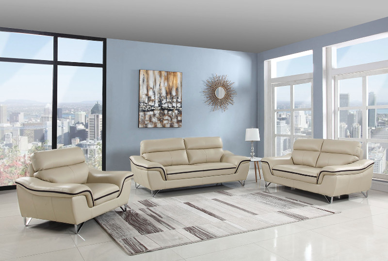 Global-United-168BEI-2PC 2 pc Veronica collection modern style beige genuine leather upholstered sofa and love seat set