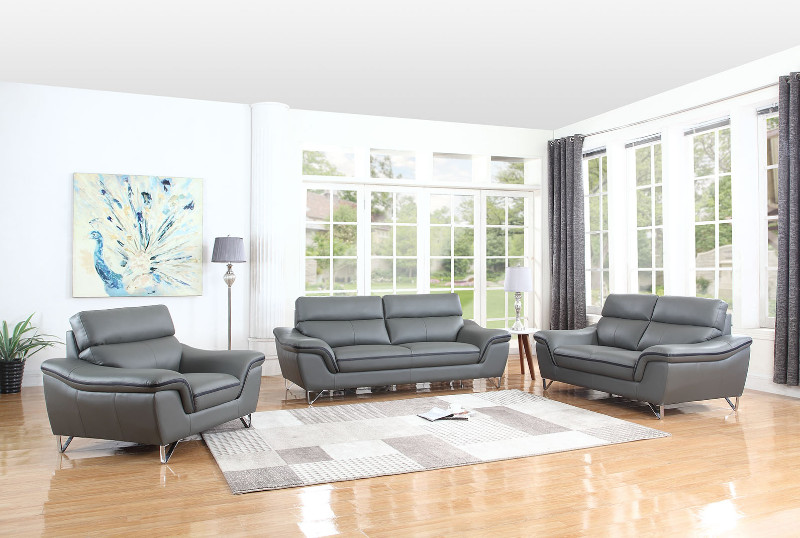 Global-United-168GR-2PC 2 pc Veronica collection modern style grey genuine leather upholstered sofa and love seat set