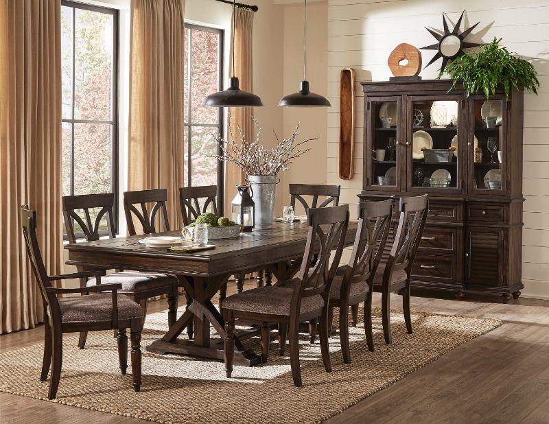 7 pc Cardano driftwood charcoal finish wood trestle base dining table set