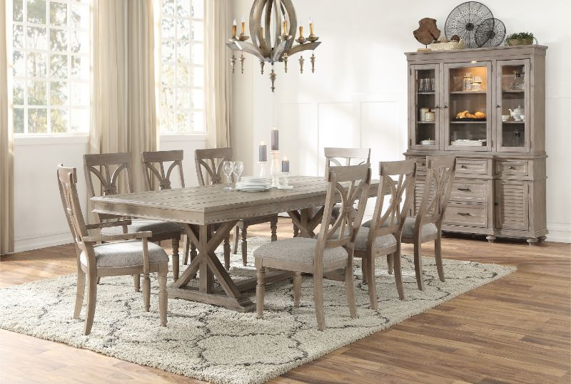 1689BR-96 7 pc Cardano driftwood light brown finish wood trestle base dining table set