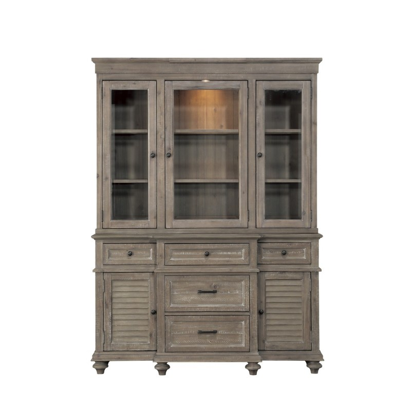 1689BR-50 2 pc Cardano driftwood light brown finish wood China hutch and buffet cabinet