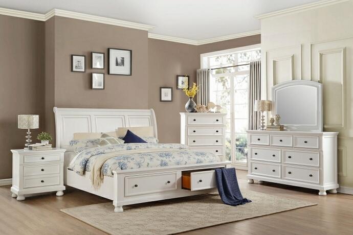 Homelegance 1714WH-5PC 5 pc Laurelin white sand thru finish wood bedroom set