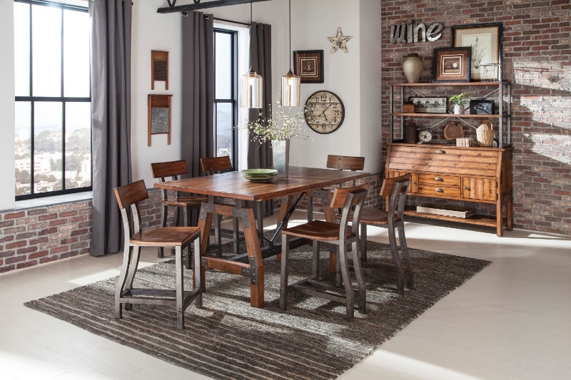 Homelegance 1715-36 7 pc Holverson rustic brown finish wood trestle base counter height dining table set