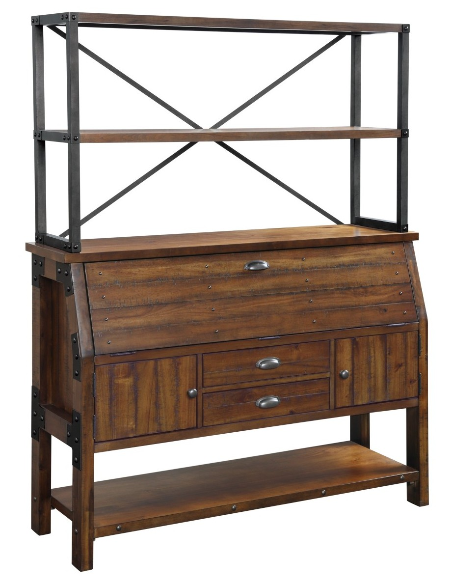 Homelegance 1715-50 Holverson rustic brown finish wood Bakers rack and buffet
