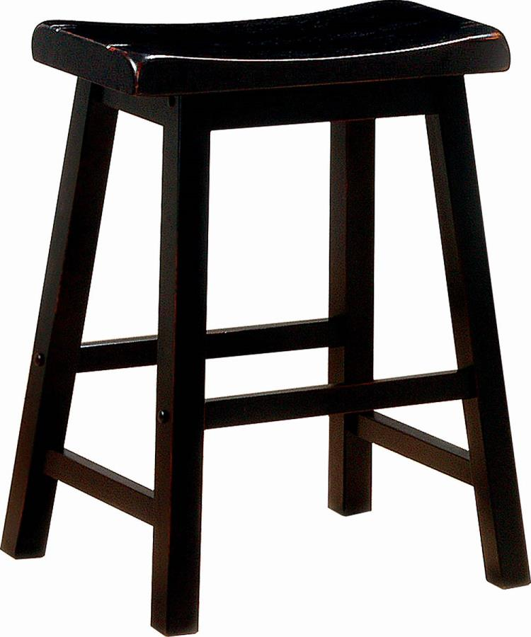 "180019 Set of 2 Terrence black farmhouse 24"" counter height seat country style stools"