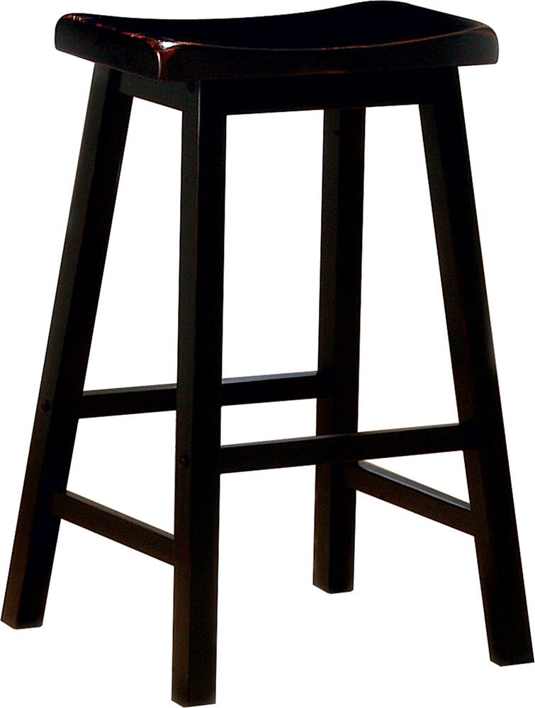 "180029 Set of 2 black finish wood 29"" bar height seat country style farmhouse style stools"