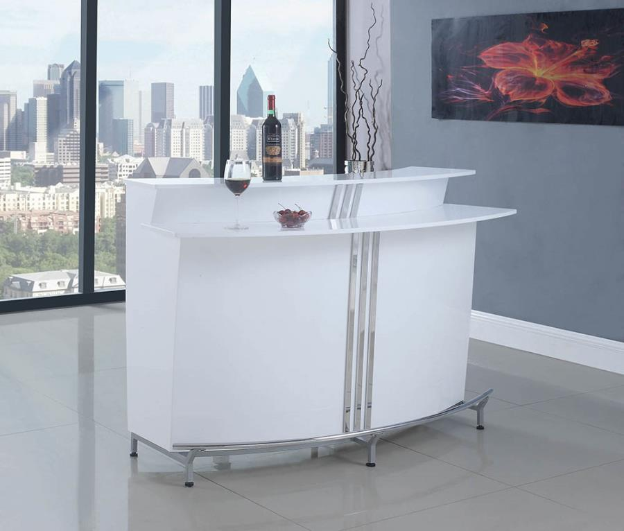 180239 Darby home co jennisa modern style white and chrome finish metal curved front bar unit