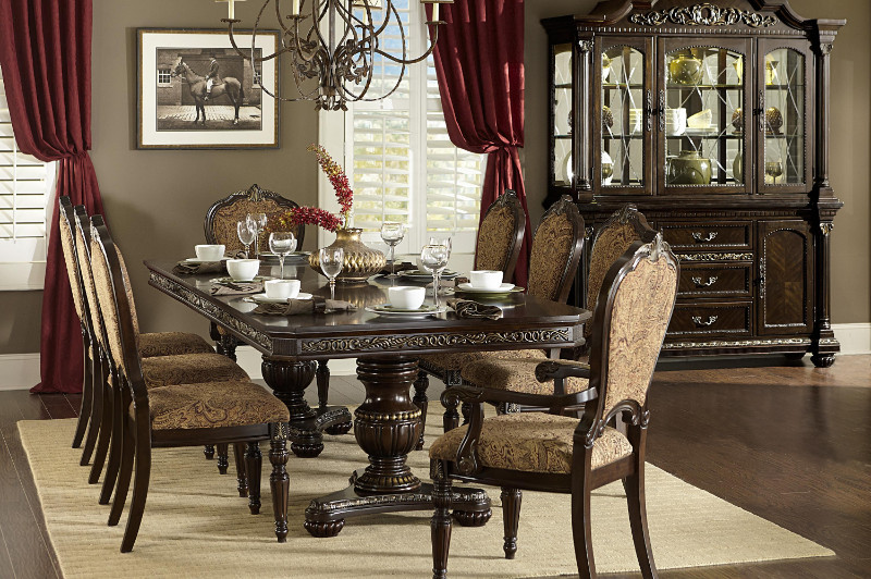 Homelegance 1808-112 7 pc russian hill cherry finish wood double pedestal dining table set