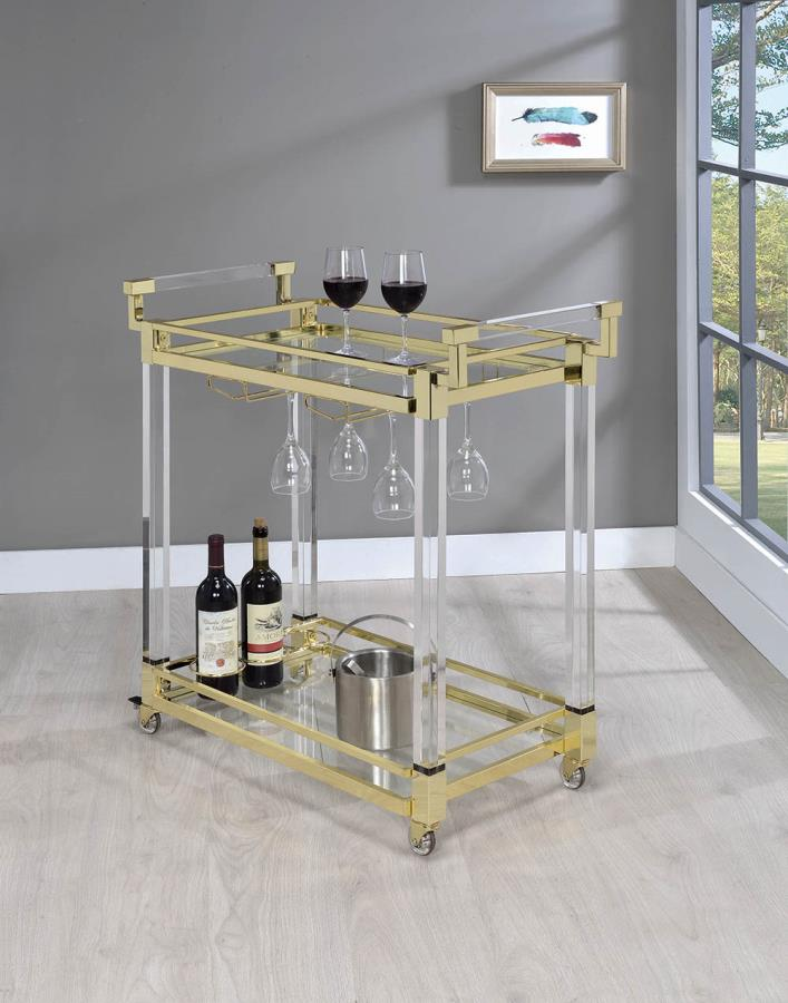 181000 Brass finish metal clear acrylic tea serving cart with casters