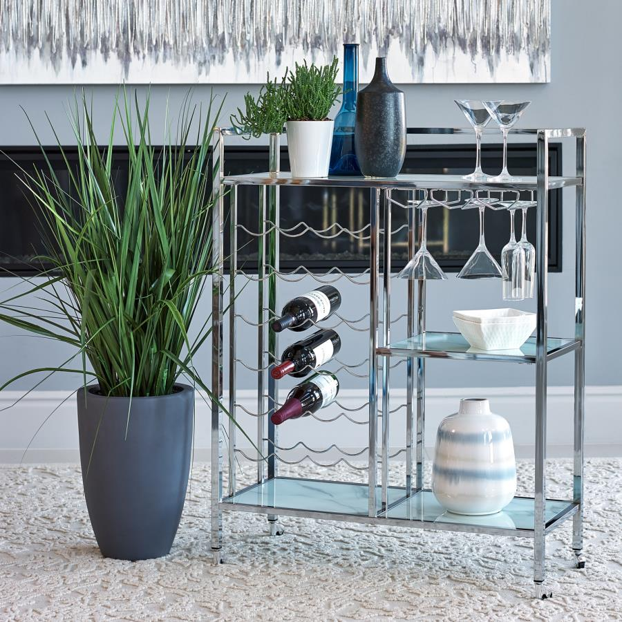 181370 Clear glass and chrome tea / bar serving cart with casters