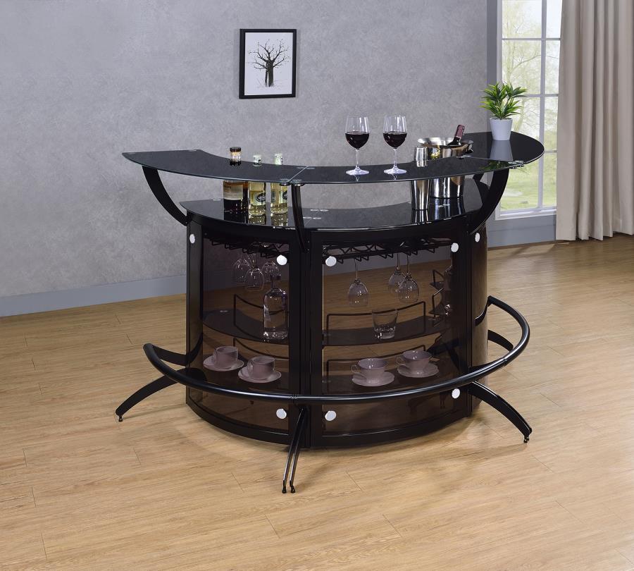 182135-S3 3 pc Orren ellis home bar unit modern style black finish half circle curved front bar unit